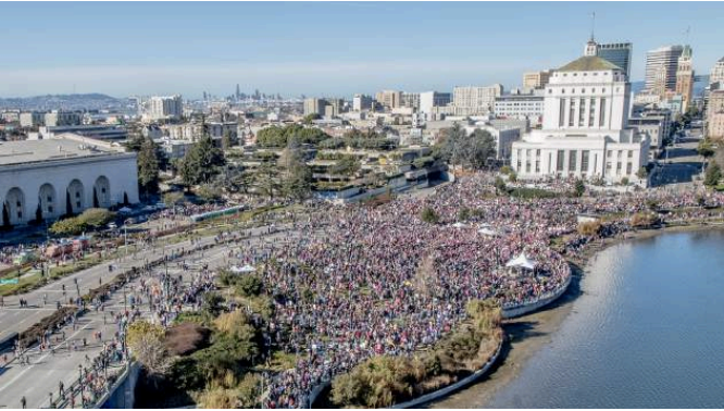 Womens March - Aerial View by Lake Merritt